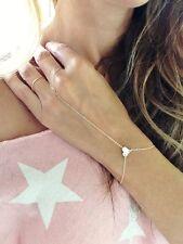 Women Gold Finger Ring Slave Love Heart Hand Harness Link Chain Bracelet Jewelry