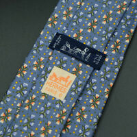 Hermes Paris Made In France Blue Floral Pattern Silk Tie 7798 FA