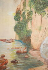 1967 Impressionist landscape lake watercolor painting signed