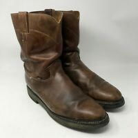 Justin Men's Boots sz 13D Brown Leather Roper Western Cowboy Boots Work