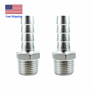 "2Pcs 1/2"" Hose Barb to 1/2""Male NPT Stainless Steel Hose Barb Fitting Water Fuel"