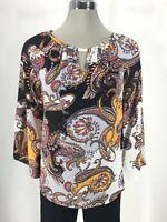 Zac & Rachel NEW WT Multi Color Blouse 3/4 Sleeve Top Women's size S,M,L,XL