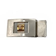 Authentic Vintage Silver & Gold Tone Versace Medusa Head Hook Belt Buckle