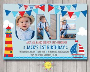 Printable Boys Birthday Invitation Photo Letters Nautical Boat Any Age 1st
