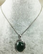 Necklace Jade Silver 925 Women Sterling Chain Natural Carved Deep Green Fine 18""