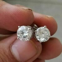 4.00 Ctw Round Solitaire Moissanite 4-Prong Stud Earrings 14k White Gold Over