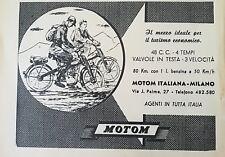 vecchia PUBBLICITA' MOTOM MOTO MOTOM ITALIANA MILANO
