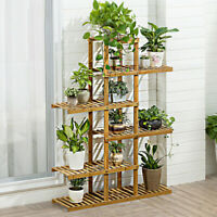 "52"" Tall Multi Potted Carbonized Wood Plant Stand Home Flower Display Rack Shelf"