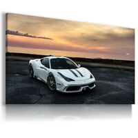 FERRARI ITALIA WHITE Super Sports Car Large Wall Art Canvas Picture AU342 MATAGA