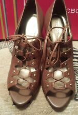BCBGirls Womens Colmar Wedge Sandal  Vintage Brown Sheep Leather (NIB) Size 8