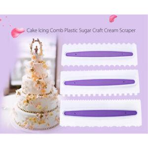3x Pastry Icing Comb Set Plastic Spatulas Scraper Cake Baking Decorating Tool AU