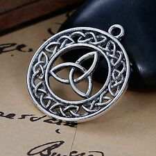 2 x Tibetan Silver 3 Triquetra Celtic Knot Pendant Charms Gothic Wicca Pagan