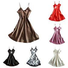 Women Satin Lace Night Dress Lingerie Pajamas Ladies Fashion Sleepwear Nightgown
