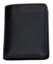 Men's black genuine leather wallet HMT with fabric lining. Worldwide Shipping.