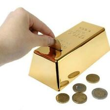 Gold Bullion Bar Money Bank Coin Box Saving Storage Piggy Tank Gift Novelty Kid