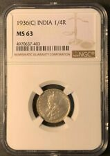 1936 (C) INDIA 1/4 Rupee NGC MS63 KING GEORGE V Silver@ KM#518