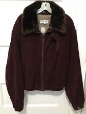 $590 MSRP Giorgio Armani Coat Jacket Size 42 (M) Leather FUR COLLAR Burgundy