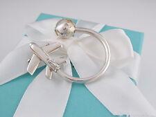 New Tiffany & Co Silver Rare Plane Globe Key Ring Keychain Box Included