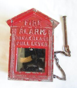 VINTAGE SMALL FIRE ALARM BOX PULL STATION BREAK GLASS WALL CALL RELAY GAMEWELL ?