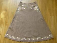 LAURA ASHLEY BROWN LINEN BIAS CUT EMBROIDERED LINED SKIRT SIZE UK 10