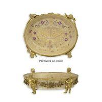 99937862-dss Bronzo Ceramica Tafel-Aufsatz Ciotola Con Putten Putto 12x32cm