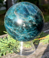 215.4g  POLISHED BLUE/GREEN APATITE MINERAL CRYSTAL HEALING SPHERE Reiki  NORWAY