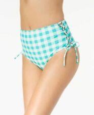 California Waves High Waist Bikini Swim Bottoms Size XL Mint Green White Check