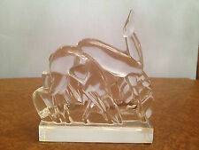 LARGE GROUP FIGURINE BACCARAT DEER GRAZING CRYSTAL SCULPTURE ANIMAL