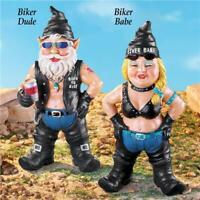 Harley Motorcycle Biker Chick Babe & Dude Guy Gnomes Garden Yard Art Statues