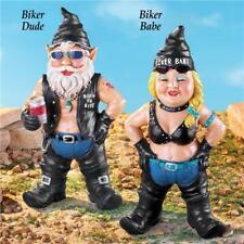 Harley Motorcycle Biker Chick Babe & Dude Guy Gnomes Garden Yard Art Statues