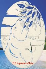 Manatee Bust Static Cling Window Decal Oval 8x12 Tropical Manatees Decor New