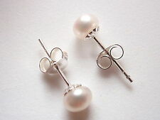 Cultured Pearl 4mm Stud Earrings 925 Sterling Silver Corona Sun Jewelry 4 mm