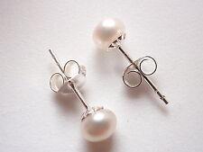 Cultured Pearl 5mm Stud Earrings 925 Sterling Silver Corona Sun Jewelry 5 mm