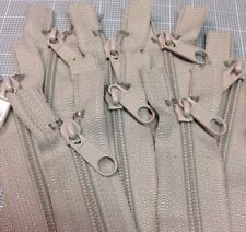 "WHOLESALE LOT OF 10 LONG PULL HANDBAG ZIPPERS 18"" Beige #4 (5.1mm) Nylon"