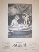 Swan Soap art advert 1900 boy in bath with dog watching floating soap
