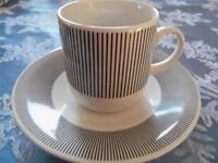 Pier One 1 Black White Striped Demitasse Coffee Cup & Saucer Set (s) Italy