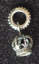 925 SILVER NO NAME DANGLE 3D KING, QUEEN ROYAL CROWN JEWELS EUROPEAN BEAD CHARM