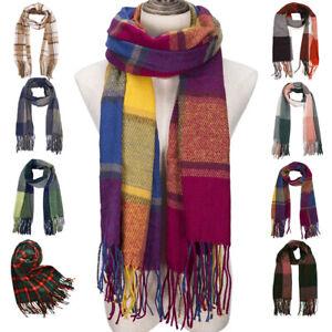 Blanket Tassel Design Tartan Scarf Wrap Shawl Plaid Cozy Checked Women Best Love