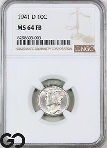 1941-D MS64 Mercury Dime, Full Split Bands, NGC Mint State 64 FSB ** Very Sharp!