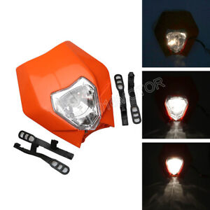 Orange Motorcycle Headlight Front Light For Street Fighter Dual Sport Dirt Bike