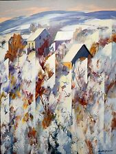"ORIGINAL PAYSAGE 40"" X 30"" CHRISTIAN BERGERON AFTER THE SNOW ACRYLIC OIL CANVAS"