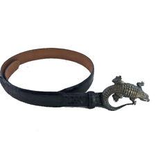 Andreas Beckmann Alligator Skin Belt with Sterling Silver Alligator Buckle RARE!