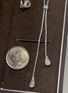 "14k White Gold Women's Diamond Necklace Lariat  Free Style Design chain 16"""