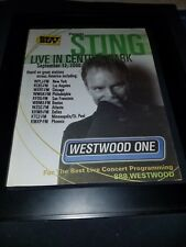Sting Live In Central Park Rare Original Radio Concert Promo Poster Ad Framed!