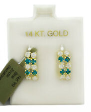 BLUE ZIRCON  & WHITE SAPPHIRE DANGLING EARRINGS 14K GOLD ** New With Tag **