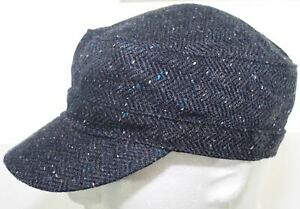 American Eagle Outfitters Wool Army Cadet Hat Blue & Gray Fitted Cap Size Small