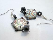 Unique Turtle Earrings Black Acrylic with Multi Color Accents Silver Tone Wires