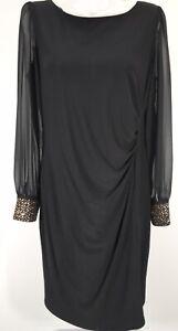 Women's ROMAN ORIGINALS Chiffon Sparkle Embellished Cuff Dress Size 16 BNWT