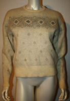 VINTAGE ICELAND Wool Sweater S Ivory Gray Brown Geometric S
