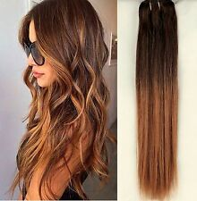 "100% Real Full Head Clip in Human Hair Extensions Remy Ombre Straight 18"" Blonde"